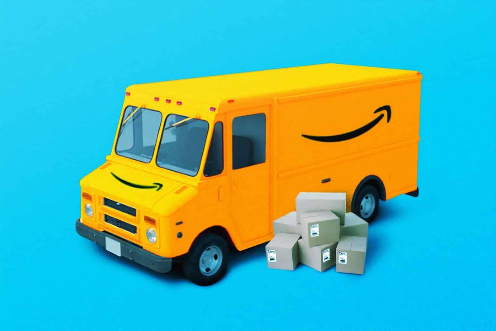 amazon van with company logo is on display, amazon fba calculator